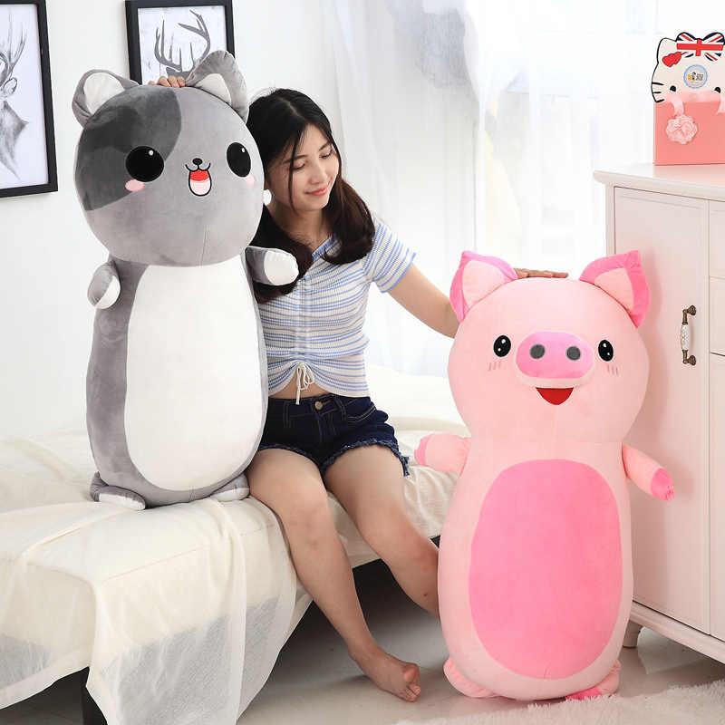 60cm/85 cm/adet peluş hayvan yastık oyuncaklar yumuşak bebek yastık dolması kanepe yastığı peluş tekboynuz kedi köpek domuz bebekler sevimli çocuk hediyeler