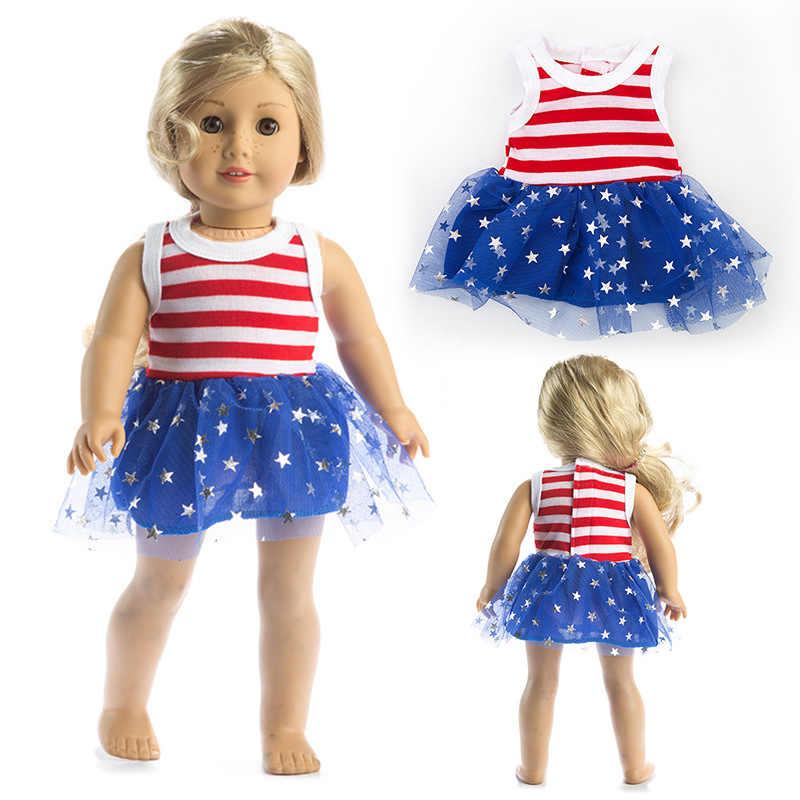 18 inch girls doll stripe star pattern lace dress for 43cm baby doll dress baby girl birthday gifts