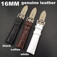 1 шт Высокое качество 16 мм натуральная коровья кожа ремешок для часов Ремешок для часов кофе, черный, белый цвет-WB0014
