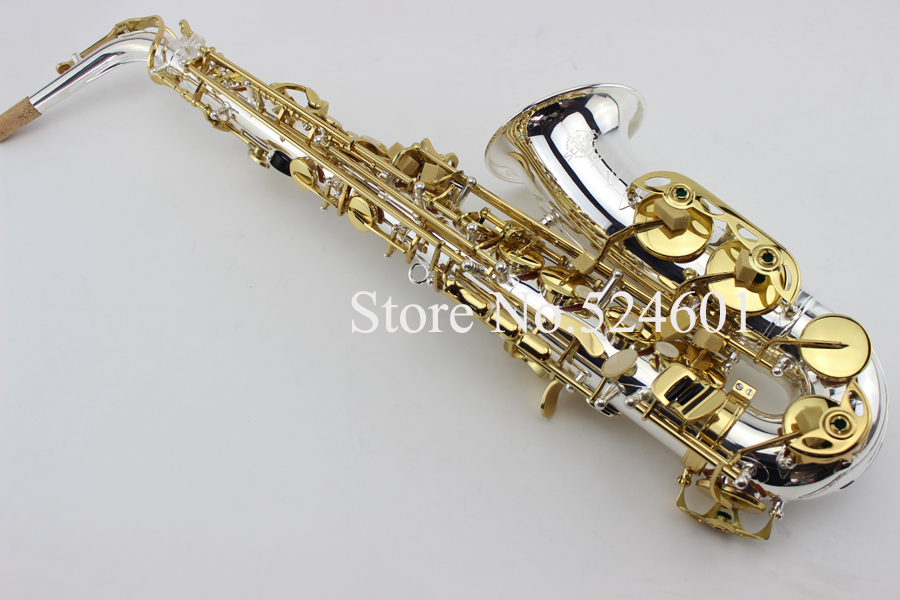 2017 Newest Selmer Saxophone SAS-R54 Eb Alto Sax Silvering Professional Brass Musical Instruments with Sax Mouthpiece alto saxophone selmer 54 brass silver gold key e flat musical instruments saxophone with cleaning brush cloth gloves cork strap