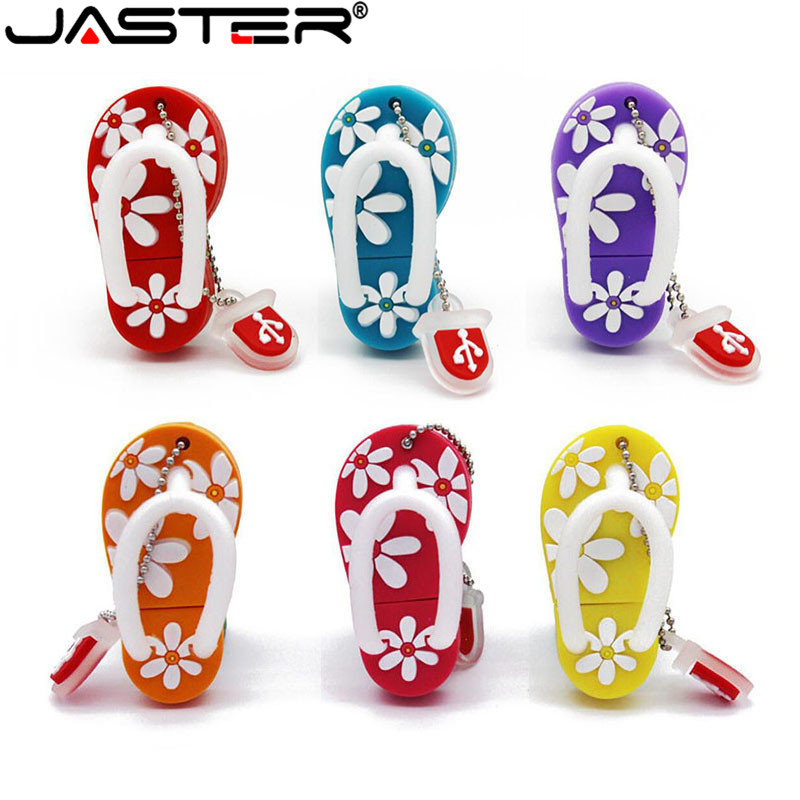 JASTER Summer Mini Slipper USB Flash Drive Gift Lovely Cartoon Pendrive 4GB/8GB/16GB/32GB/64GB Usb Flash Drive Memory Stick
