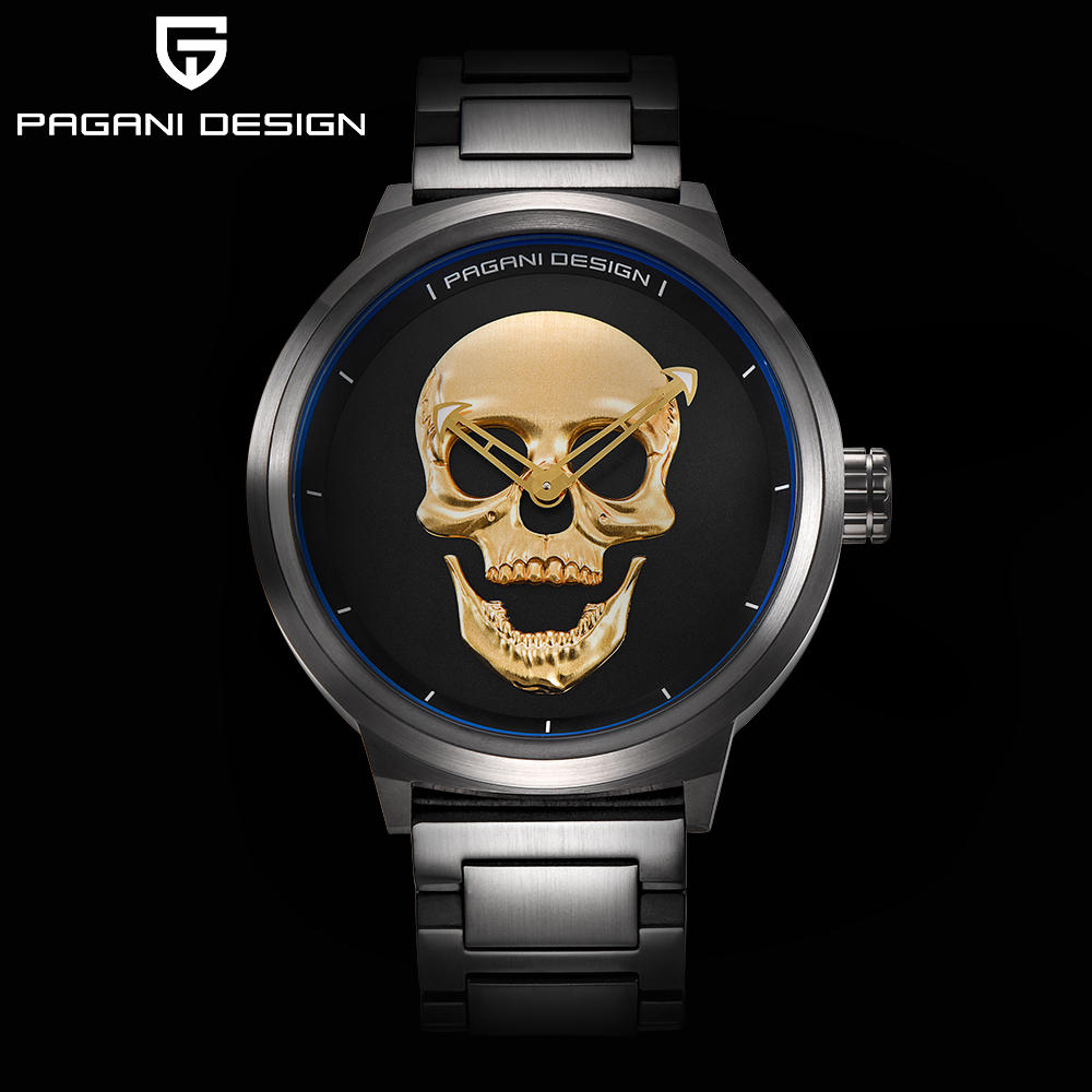 PAGANI DESIGN brand punk 3D skull personality retro fashion men's watch large dial design waterproof quartz outlet clock цена