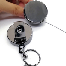 2PCS Badge Holder Reel Lanyard Heavy Duty Clip Office Name Card Metal Pull Recoil ID Key Ring Belt Keychain Retractable