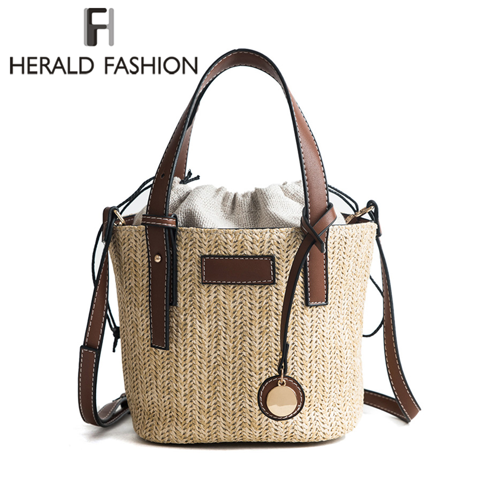 цена на Herald Fashion Female Bucket Cylindrical Straw Bags Summer Beach Bags Wheat-straw Woven Women Crossbody Bags Shoulder Tote Bag