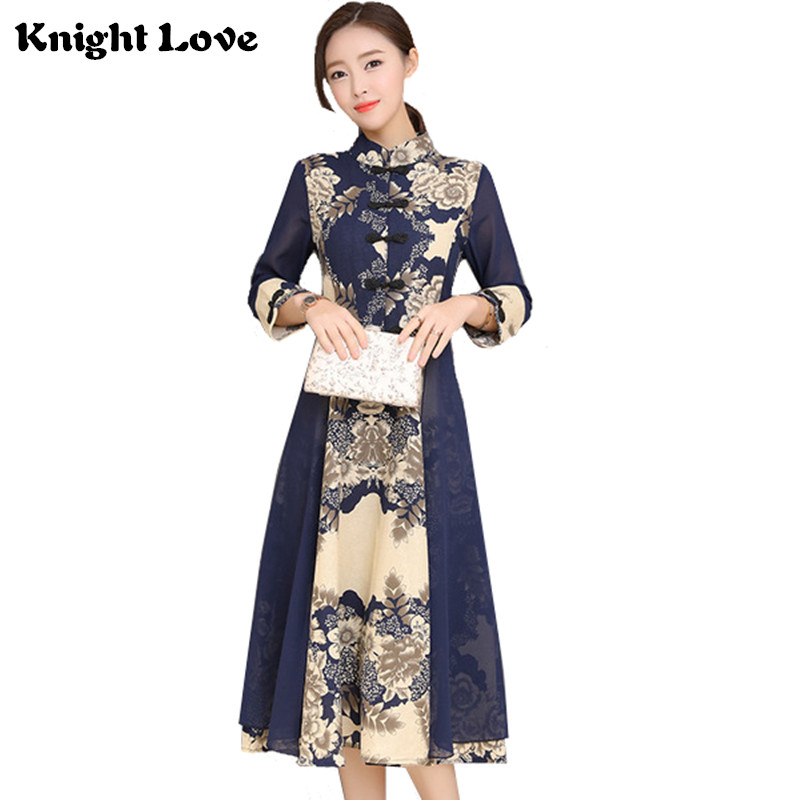 New Women Dress Cotton Lady Traditional Chinese Style Cheongsam Patchwork Long Sleeve Knee Length Print Qipao