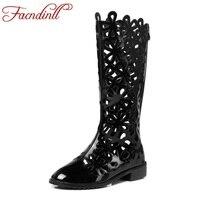 Facndinll Летняя обувь Модные женские сандалии гладиаторы до колена высокие сапоги пикантные вырезы из лакированной кожи на толстой платформе
