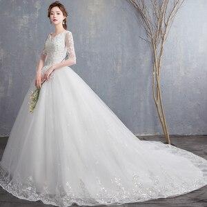 Image 2 - EZKUNTZA 2019 ใหม่ V เซ็กซี่ V คอต่อท้ายแต่งงานชุดดอกไม้หวานเจ้าหญิงสีขาว Lace Up Slim ชุดแต่งงาน Casamento L