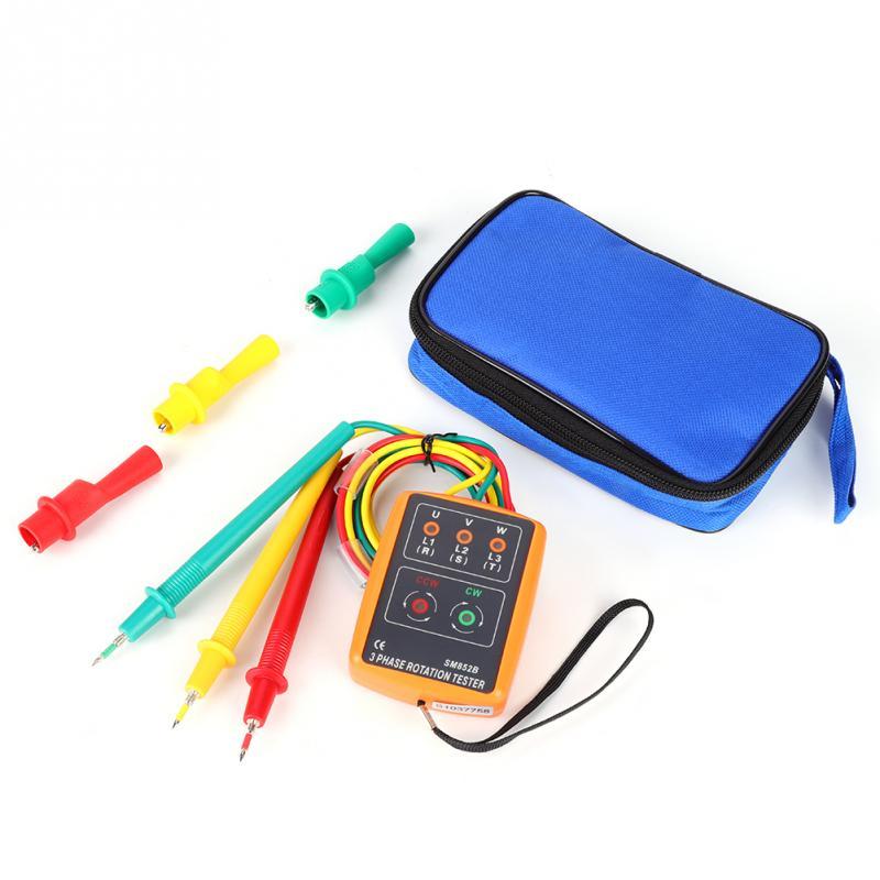 1 Set SM-852B 3-Phase Rotation Tester Portable Sequence Tester 60V~600V  AC Sequence Indicator 20Hz-400Hz