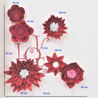 2019 Giant Glittered Foam Flowers Handmade Red Large Rose Set For Nursery Wedding Birthday Backdrop Home Wall Decoration