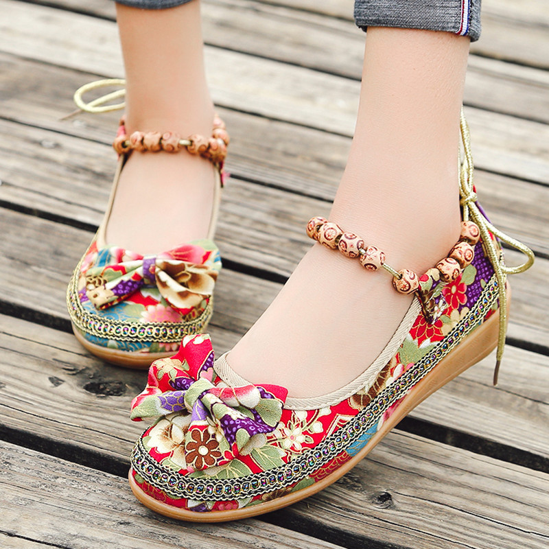 Women's Sandals Shoes Wedges Flower Old Casual Beijing-Cloth Cross-Border Butterflies