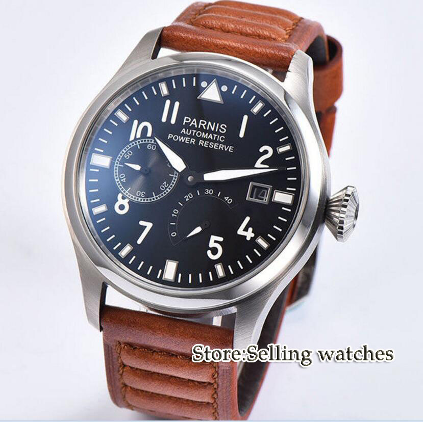 Parnis Fashion 47mm Men Watch Power Reserve Auto Date Men s Mechanical Watches Black Dial Sea