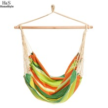 Homdox Extra Long Confortable Durable Striped Hanging Chair Hammock With  Wooden Stretcher Multicolor Hammock Load 120