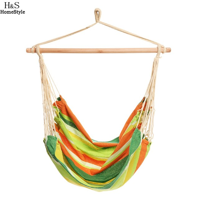 Homdox Extra Long Confortable Durable Striped Hanging Chair Hammock with Wooden Stretcher Multicolor Hammock Load 120 kg N30*