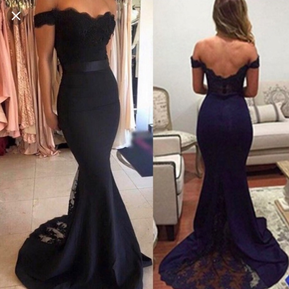 Dark Nave Blue Lace Mermaid Honor Of Maid   Dress   Off The Shoulder Sexy Long   Bridesmaid     Dresses   2019 Elastic Formal Party   Dress
