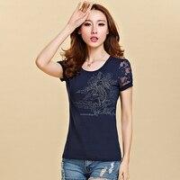 Tshirt Hollow Out Print Floral T Shirt Women 2017 Summer Tops Korean Clothes Casual Female Short