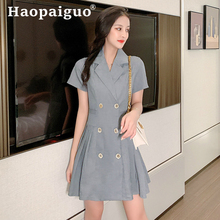 Large Size Gray OL Office Work Pleated Dress Women Double Button Mini Blazer Dress Women Solid Causal A-line Summer Dress 2019 цена