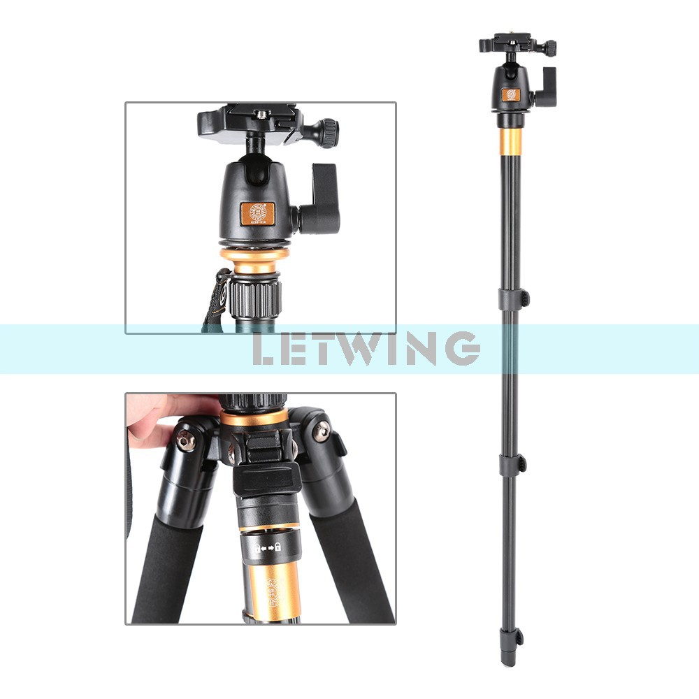 QZSD Q555 Pro Portable Magnesium Aluminum Digital Camera Tripod Monopod With Ball Head for DSLR Camera Stand Monopod zomei z888 portable stable magnesium alloy digital camera tripod monopod ball head for digital slr dslr camera