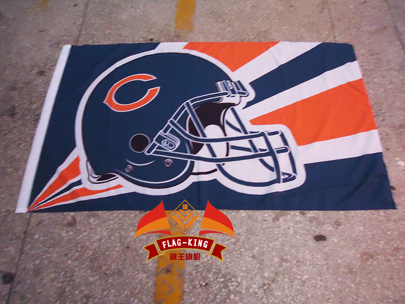 Helmet Chicago Bears football club flag, Rugby soccer Helmet Match fan banner,NHL flag king 90*150CM polyster