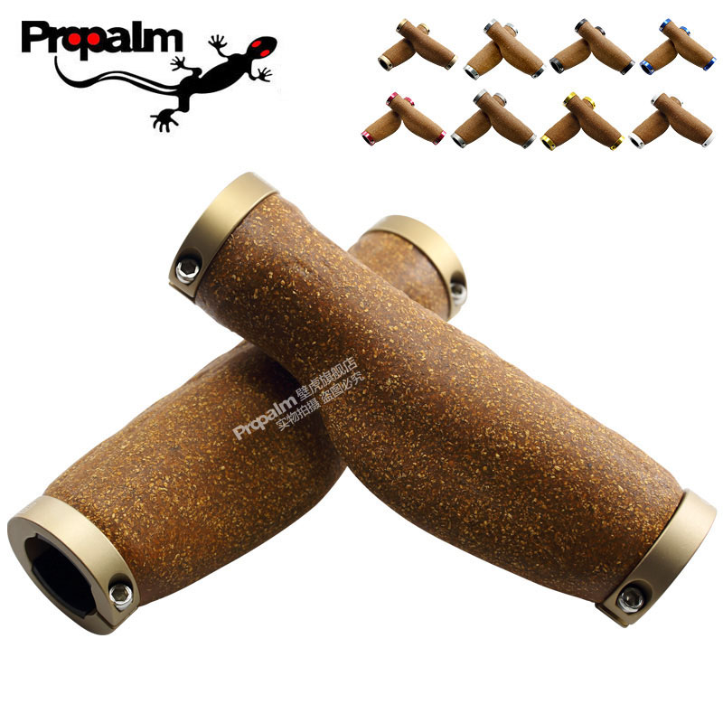 Propalm 468CK Bike Handlebar Grips Wood Cork Material Aluminum Alloy Ring Lock on Handle Bar Sleeve