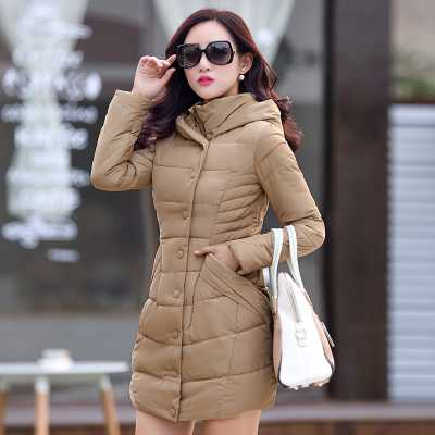 Women Parkas 2017 Fashion Hooded Single Breasted Cotton Padded Thicken Coat Winter Jacket Women Long Sleeve Slim Outerwear A4854