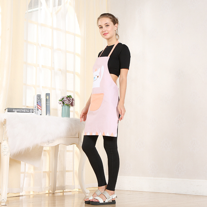 Hot Sale New Fashion Cartoon Printed Pattern Women Apron With Pockets Kitchen Aprons Schort Work Waiter Aprons Avental Delantal