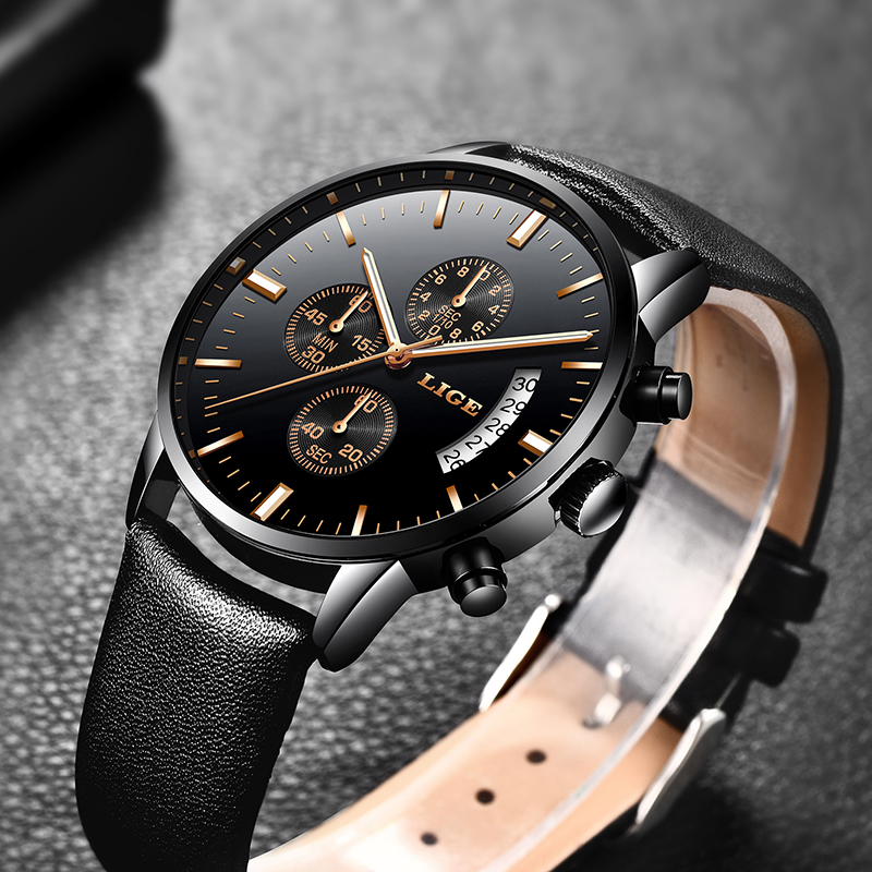лучшая цена 2018 New LIGE Brand Luxury Casual Simple Watches Men Business Quartz Watch Man Leather Strap Fashion Sport Watch