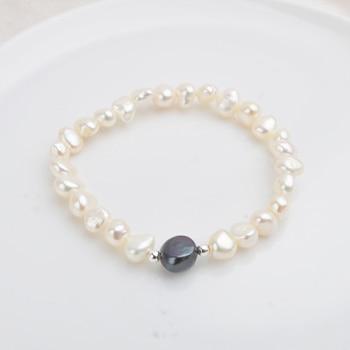 abf3e3899a47 ASHIQI 7-10mm Natural de agua dulce Perla Barroca pulseras y brazaletes de  mujer de Plata de Ley 925 perlas regalo de la joyería