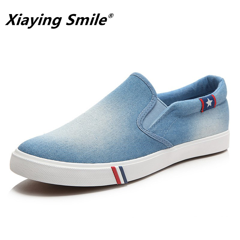 Mens Casual Shoes Jeans Canvas Casual Shoes Slip On Men Flats Loafer Blue 7