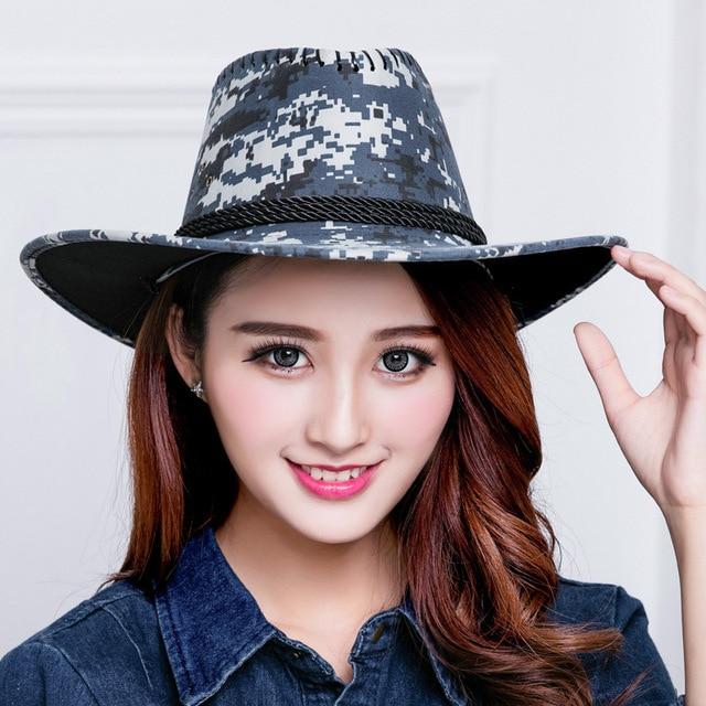 Verano nuevos hombres y mujeres camuflaje sombrero para el sol sombrero de  vaquero del Oeste de d4fd58afddc