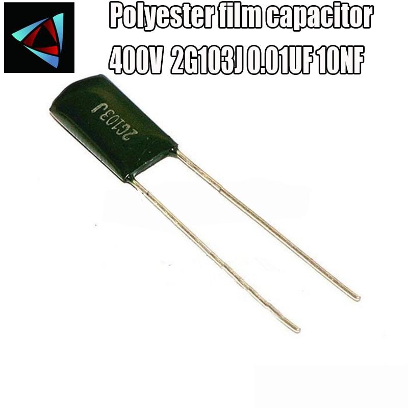 20pcs Polyester Film Capacitor 2G103J 400V103J 0.01UF 10NF