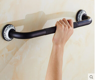 New High Quality Black Oil Brushed bathroom armrest handle anti-slip Brass bathtub armrest handrail Grab Bars Hand Safety bar new anti slip bathtub handrail bathroom tub safety grab bar black antique brass carved pattern base safety handles wall mounted