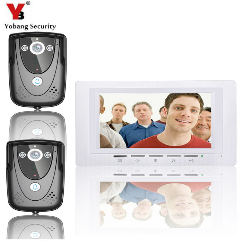 YobangSecurity Video Intercom Monitor 7Inch Video Door Phone Doorbell Home Security intercom Wired for House Office Apartment yobang security 9 inch lcd home security video record door phone intercom system doorbell video monitor for apartment villa