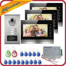 السلكية المنزل 7 بوصة شاشات ملونة شقة السلكية الفيديو باب الهاتف تتفاعل بطاقة HID الصوت البصرية نظام اتصال داخلي