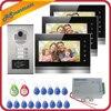 Przewodowy domu 7 cal kolor monitory apartament przewodowy wideo telefon drzwi RFID karty HID Audio domofon wizyjny System
