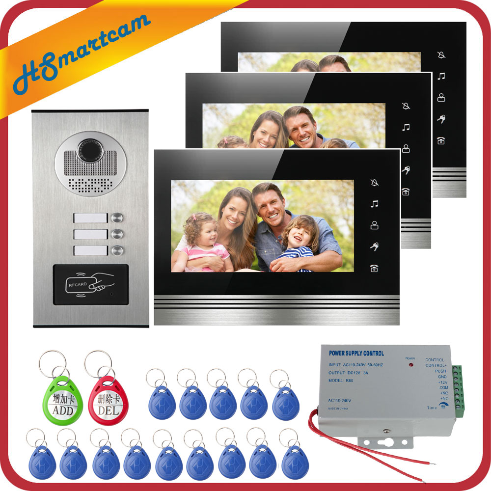 Wired Home 7inch Color 3 Monitors Apartment Wired Video Door Phone RFID HID Card Audio Visual Intercom System