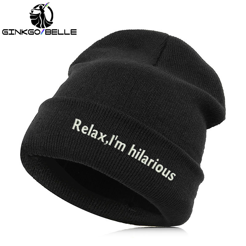 64335fe1bbf Detail Feedback Questions about High Quality Letter Casual Beanies Men Women  Fashion Knitted Winter Hat Hip hop Skullies Cap relax i am hilarious on ...