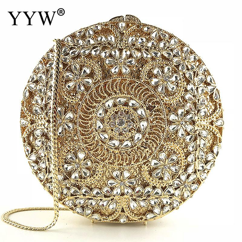 Rhinestones Women Luxury Round Clutch Bag Diamonds Beaded Metal Evening Bags Chain Shoulder Messenger Purse Evening Wedding Bag pu women messenger chain shoulder handbags beaded handmade style metal diamonds evening bags leather fashion purse bags