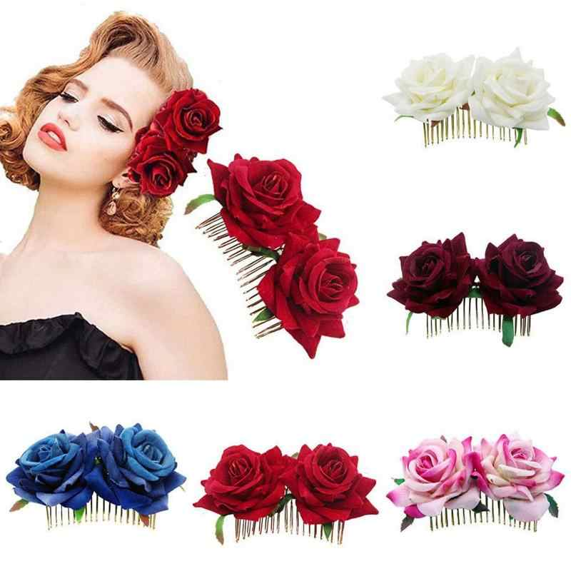 Simulation Crepe Velvet Rose Metal Comb Hair Accessories Flower Decoration Five Colors Romantic Hair Clip Wedding Bridal Women