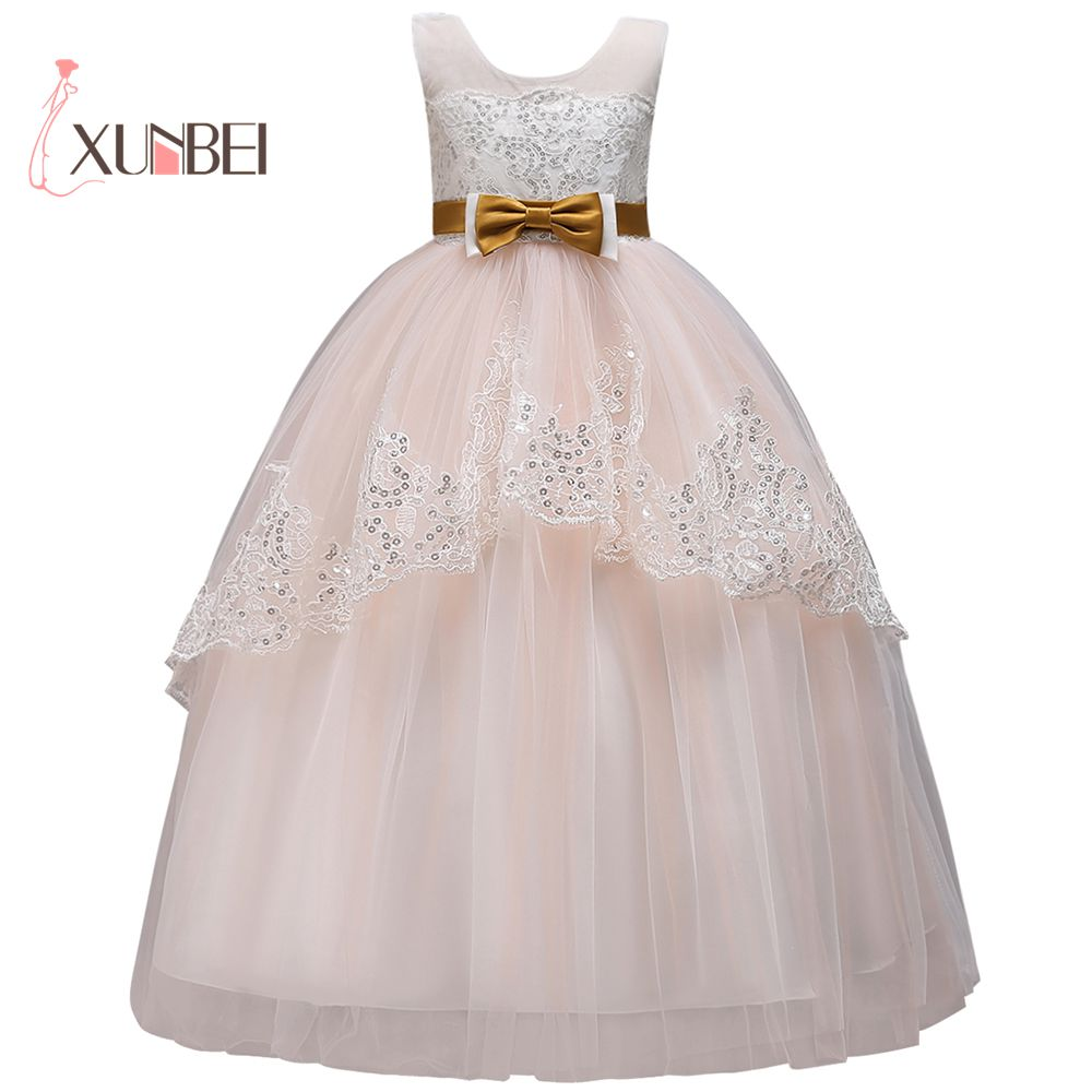 Princess Ball Gown Floor Length Lace   Flower     Girl     Dresses   2018 Sequined Applique   Girls   Pageant   Dress   First Communion   Dresses