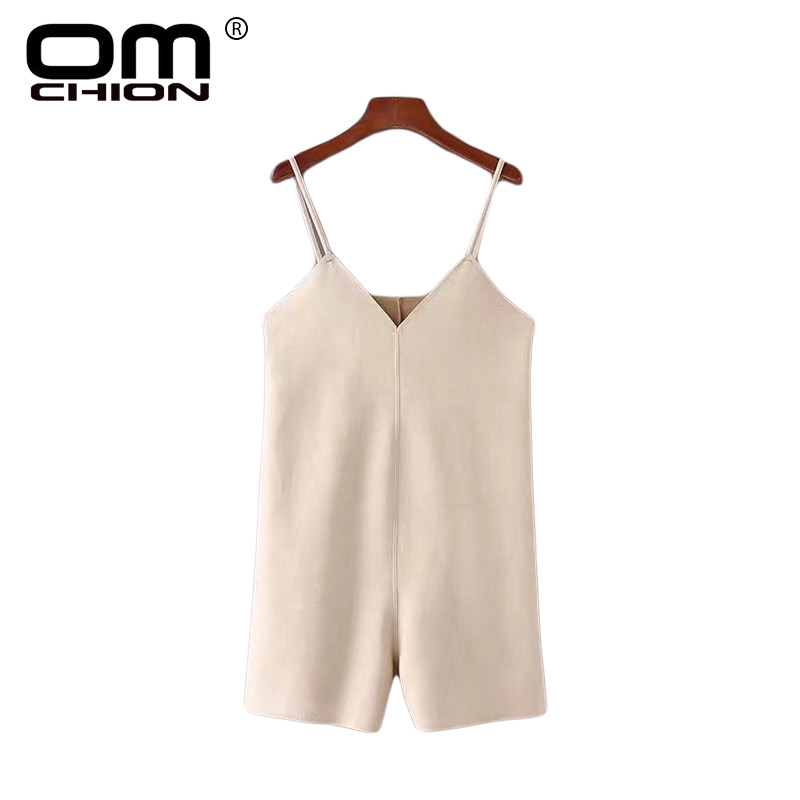 OMCHION Jumpsuits For Women 2018 Sexy Solid Beige V Neck Spaghetti Strap Backless Straight Playsuit Casual Loose Rompers LA402