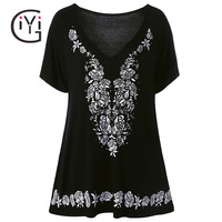 GIYI Plus Size 5XL Women Clothing Black Rose Floral Print Blouse Shirt Short Sleeve V Neck Top Oversize Summer 2017 Loose Blusas