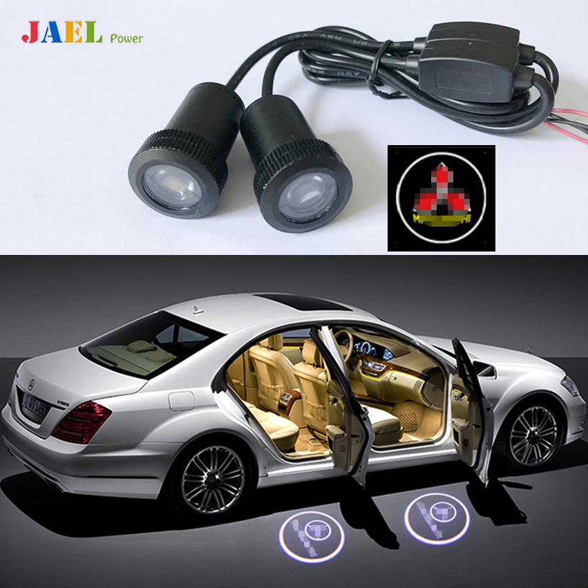 2PCs LED Door Ghost Shadow Light Courtesy Laser Projector Puddle lights Case For Mitsubishi Logo