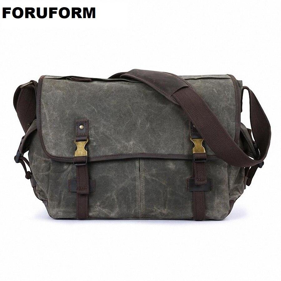 Men's Vintage Handbag Waterproof Canvas Leather Shoulder Bag New Fashion Messenger Laptop Briefcase Satchel Bag 2018 LI 2193