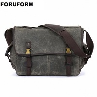 Men's Vintage Handbag Waterproof Canvas Leather Shoulder Bag New Fashion Messenger Laptop Briefcase Satchel Bag 2018 LI 2193