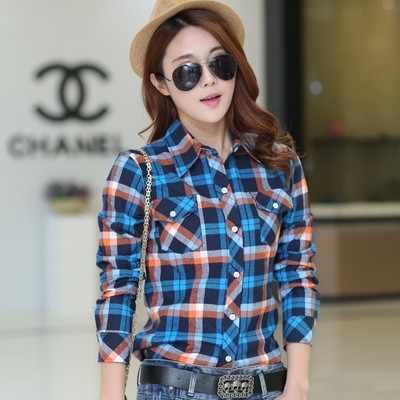16 styl nowy marka kobiety bluzki z długim rękawem koszule bawełniane czerwone i czarne kratę flanelowa koszula Casual kobiet Plus rozmiar bluzka topy