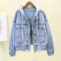 Harajuku 2019 Big Size Vintage Jeans Jackets Female Spring Autumn Long sleeve Hooded Denim Jacket Women Ladies Casual Basic Coat