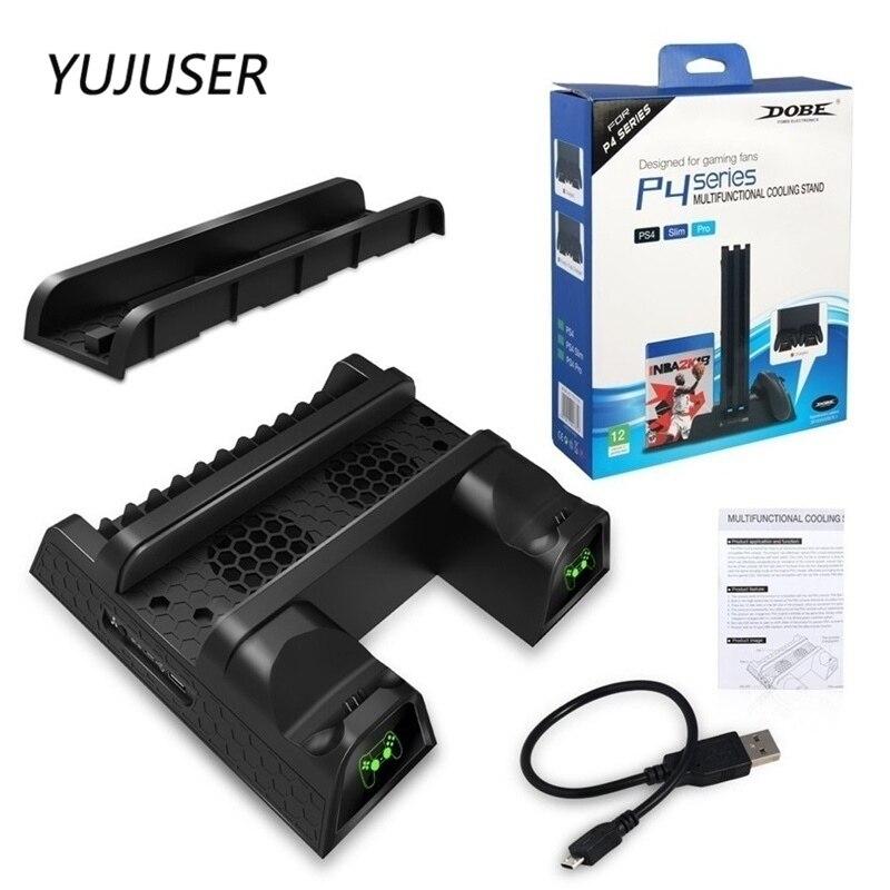 YUJUSER pour PS4/PS4 Slim/PS4 Pro refroidisseur multifonctionnel Vertical support de refroidissement PS4 contrôleur Station de chargement