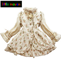 2017 Autumn Girls Clothing Suits In 2 Pieces Girl Princess Vintage Noble Dress Christmas Children Clothes