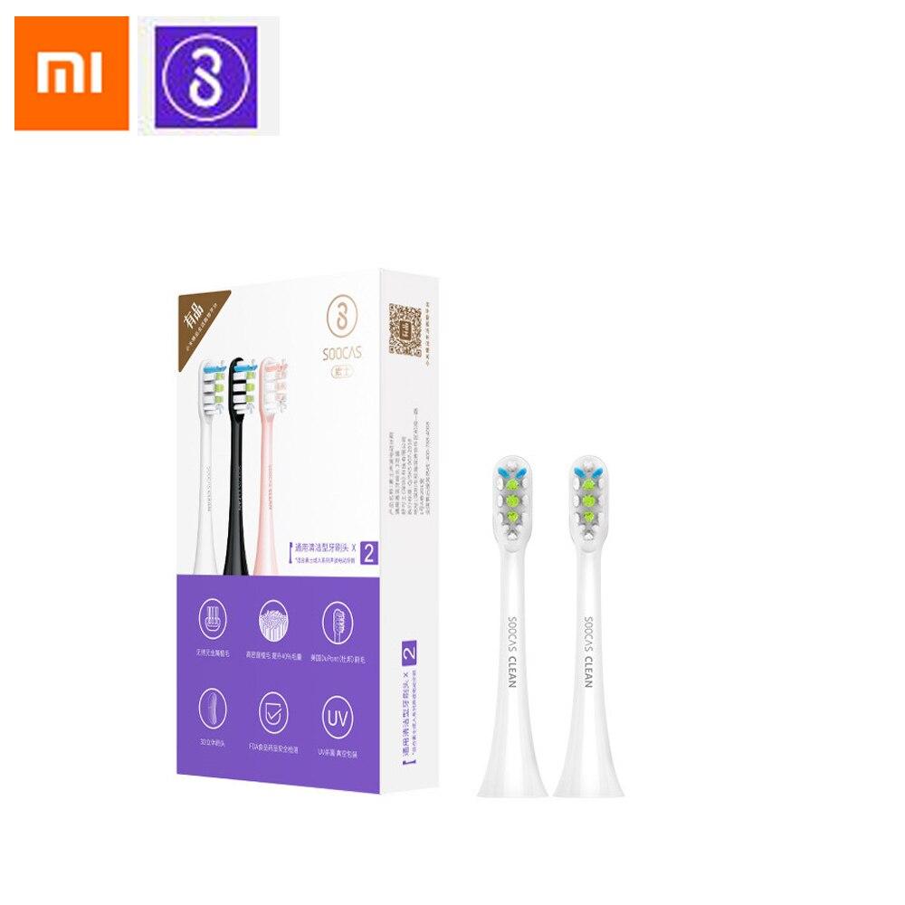 Ev Aletleri'ten Elektrikli Diş Fırçaları'de 2 PCS Xiaomi SOOCAS Yedek Elektrikli diş fırçası başı Evrensel Temizleme Tipi Fırça Kafası 3 Renkler title=