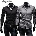 2017 spring new men's long-sleeved striped Slim casual luxury solid color shirt (3 colors optional)